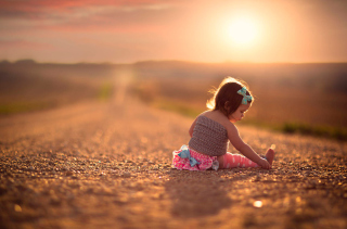 Child On Road At Sunset Picture for Android, iPhone and iPad