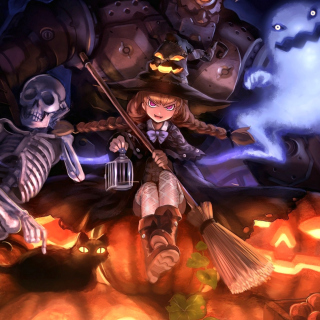 Ghost, skeleton and witch on Halloween - Obrázkek zdarma pro 208x208