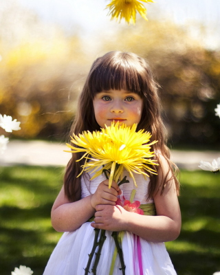 Kostenloses Sweet Child With Yellow Flower Bouquet Wallpaper für 320x480