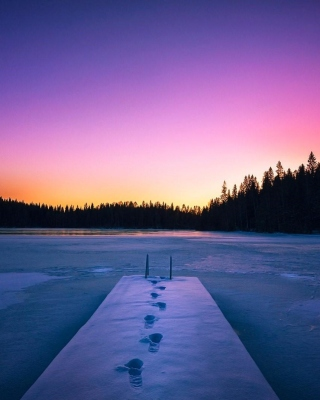 Winter Lake Background for 176x220