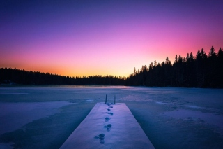 Winter Lake Background for Android, iPhone and iPad