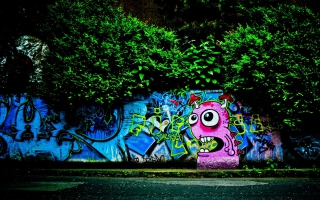 Graffiti And Trees Background for Android, iPhone and iPad