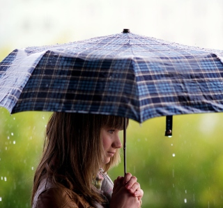 Girl With Umbrella Under The Rain Picture for iPad Air