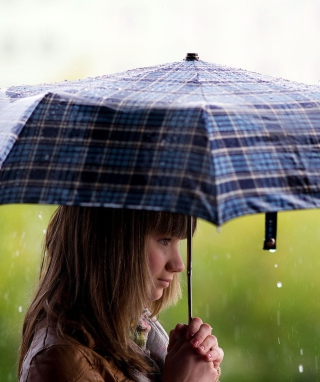 Girl With Umbrella Under The Rain Wallpaper for Nokia Asha 306