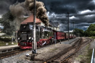 Retro SteamPunk train on station Picture for Android, iPhone and iPad