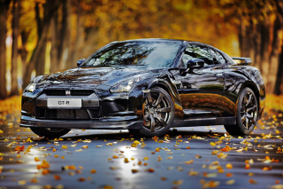 Nissan GT R in Autumn Forest Picture for Blackberry RIM 4G PlayBook HSPA+