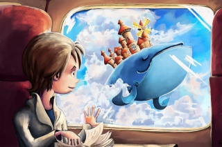 Fantasy Boy and Whale Background for Android, iPhone and iPad
