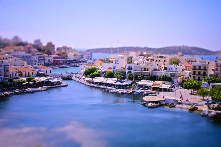 Tilt shift Photo Bay in Greece wallpaper