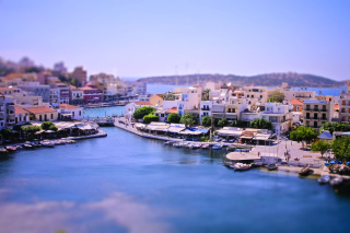 Tilt shift Photo Bay in Greece Background for Android, iPhone and iPad