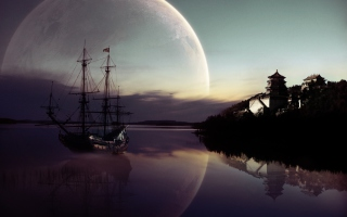 Fantasy Ship Moon Reflection - Obrázkek zdarma