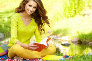 Girl With Book Picture for Android, iPhone and iPad