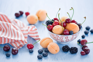Plate Of Fruits And Berries Background for Android, iPhone and iPad