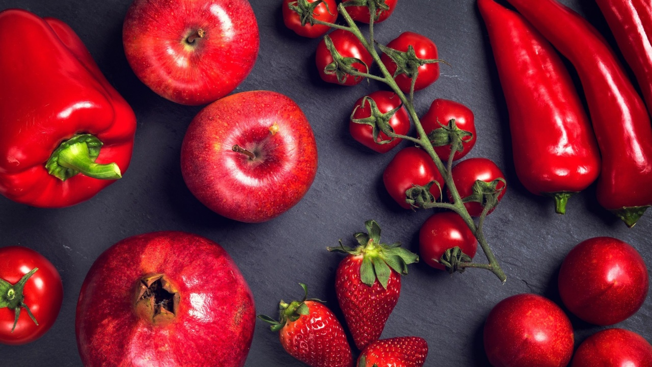 Das Red fruits and vegetables Wallpaper 1280x720
