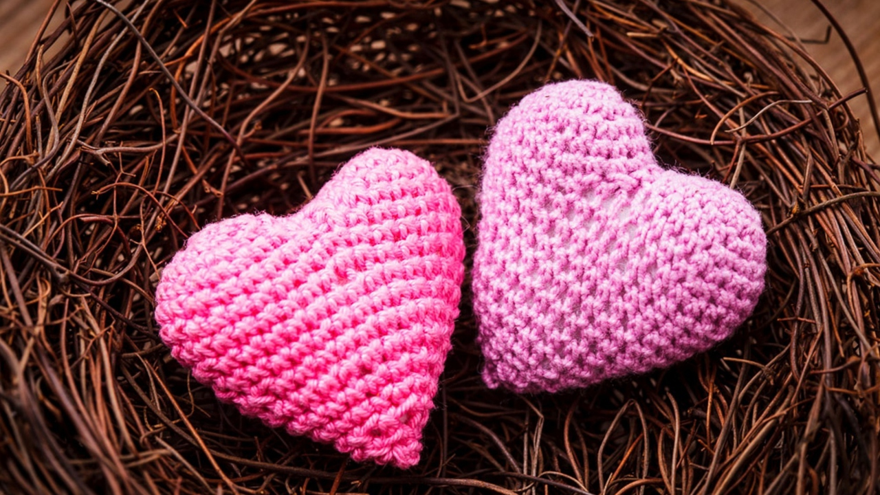 Knitted Pink Heart