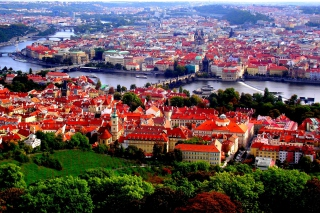 Prague Red Roofs Background for Android, iPhone and iPad