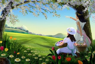 Easter Lady Spring Background for LG Optimus U