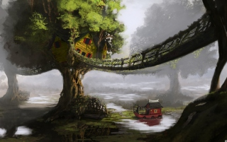Fantasy Tree House sfondi gratuiti per cellulari Android, iPhone, iPad e desktop