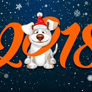 New Year Dog 2018 with Snow - Obrázkek zdarma pro iPad mini 2
