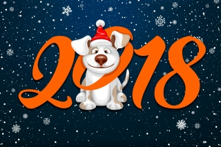 New Year Dog 2018 with Snow Background for Desktop Netbook 1024x600