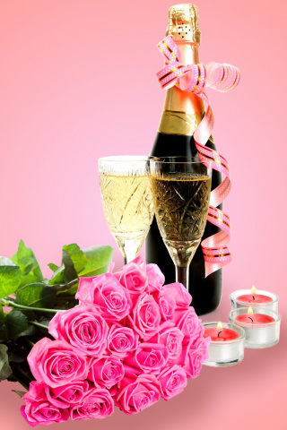 Screenshot №1 pro téma Clipart Roses Bouquet and Champagne 320x480