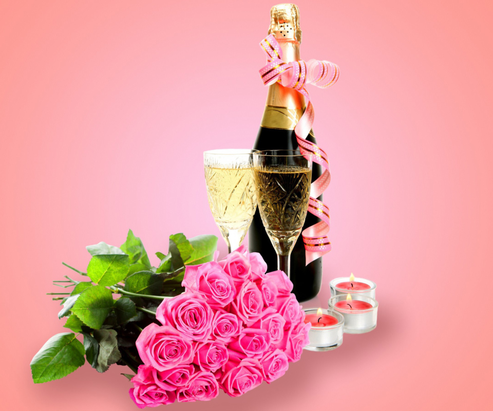Screenshot №1 pro téma Clipart Roses Bouquet and Champagne 960x800