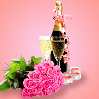 Clipart Roses Bouquet and Champagne Wallpaper for LG KP105