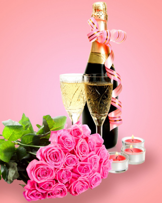 Kostenloses Clipart Roses Bouquet and Champagne Wallpaper für Nokia Asha 308