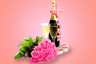 Clipart Roses Bouquet and Champagne Wallpaper for Android, iPhone and iPad