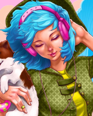 Girl With Blue Hair And Pink Headphones Drawing - Obrázkek zdarma pro Nokia C-5 5MP