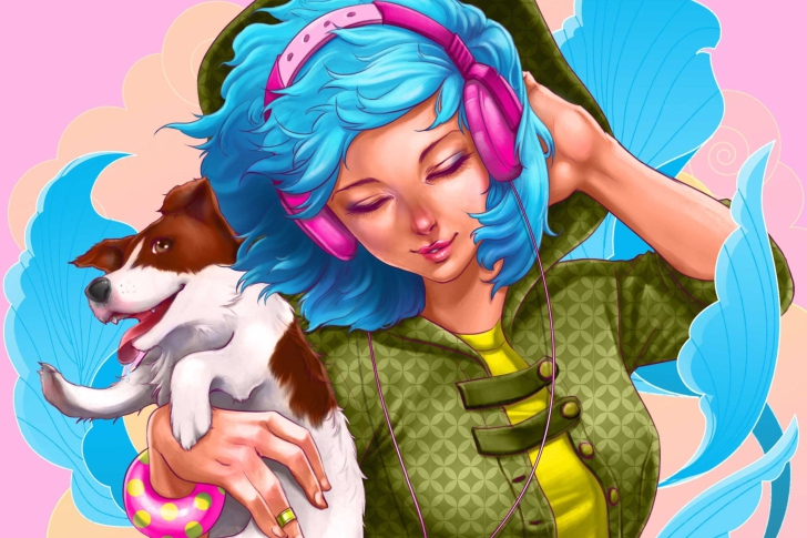 Sfondi Girl With Blue Hair And Pink Headphones Drawing