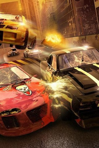 Crash Yellow Car Accident wallpaper 320x480