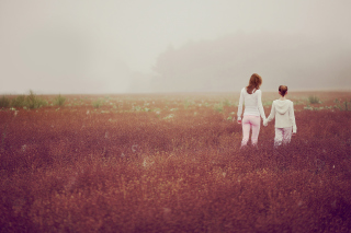 Two Girls Walking In The Field Wallpaper for Android, iPhone and iPad