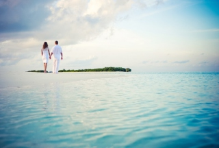 Romantic Walk By Beach Background for Android, iPhone and iPad