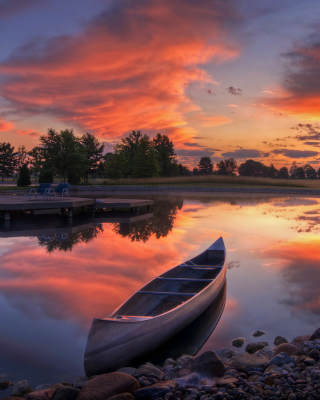 Canoe At Sunset Wallpaper for 360x640