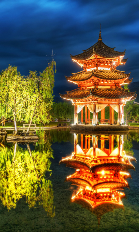 Chinese Pagoda HD wallpaper 480x800