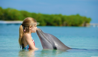 Friendship Between Girl And Dolphin - Obrázkek zdarma pro Fullscreen Desktop 1600x1200