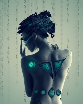 Cyborg Girl Wallpaper for Nokia Asha 503