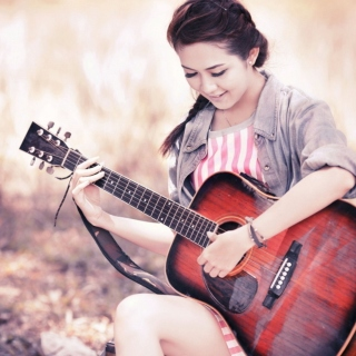 Chinese girl with guitar sfondi gratuiti per 1024x1024