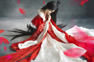 Beautiful Doll In Japanese Kimono Wallpaper for Android, iPhone and iPad