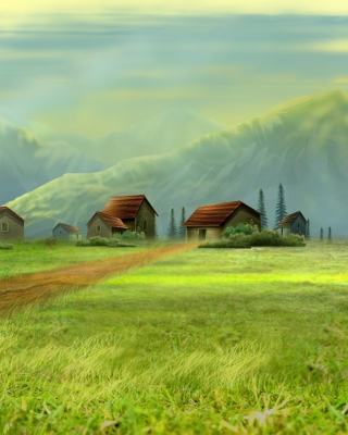 Small Village Drawing Wallpaper for HTC Titan
