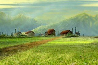 Small Village Drawing Wallpaper for Android, iPhone and iPad