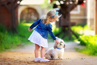 Little Girl With Cute Puppy Background for Android, iPhone and iPad