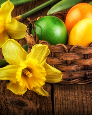 Daffodils and Easter Eggs sfondi gratuiti per iPhone 6