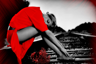 Girl In Red Picture for Android, iPhone and iPad