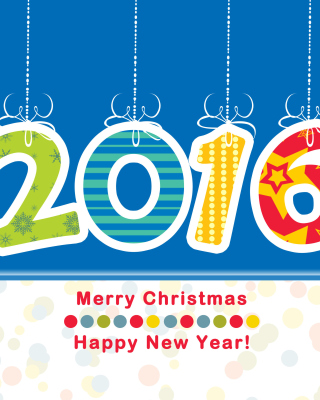 Colorful New Year 2016 Greetings Background for Nokia Asha 306