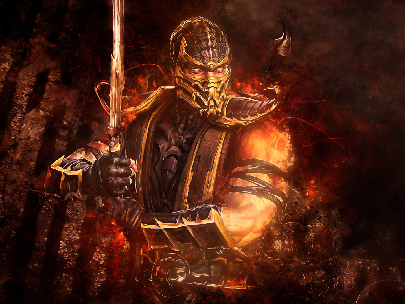 Screenshot №1 pro téma Scorpion in Mortal Kombat 1400x1050