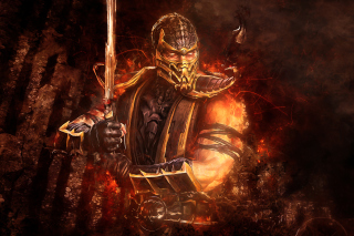 Scorpion in Mortal Kombat Background for Android, iPhone and iPad