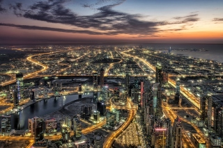 Dubai Night City Tour in Emirates Wallpaper for Desktop 1280x720 HDTV