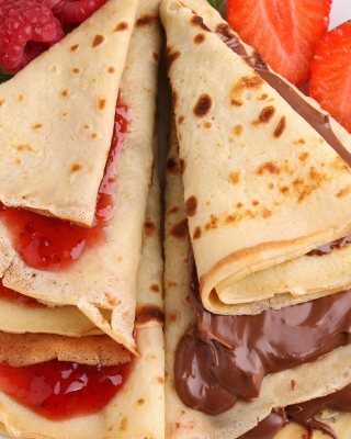 Most delicious pancakes with jam Background for 176x220