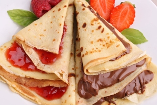 Most delicious pancakes with jam Background for Android, iPhone and iPad